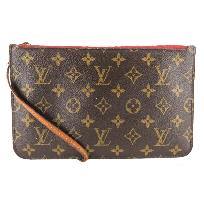 Louis Vuitton Red Monogram Canvas Neverfull MM Pochette Wristlet Bag - Wristlet