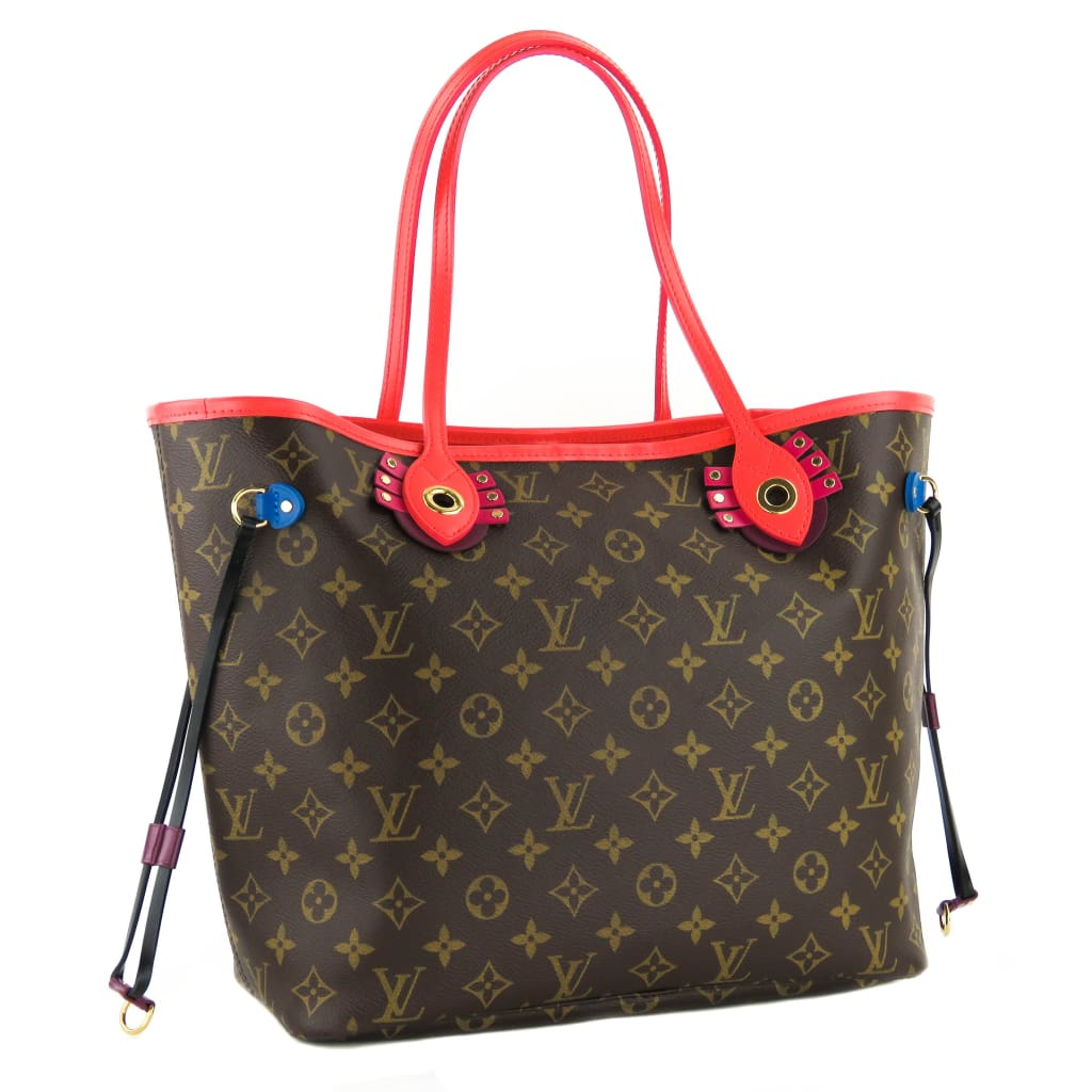 Louis Vuitton Red Monogram Canvas Totem Neverfull MM Tote Bag - Totes
