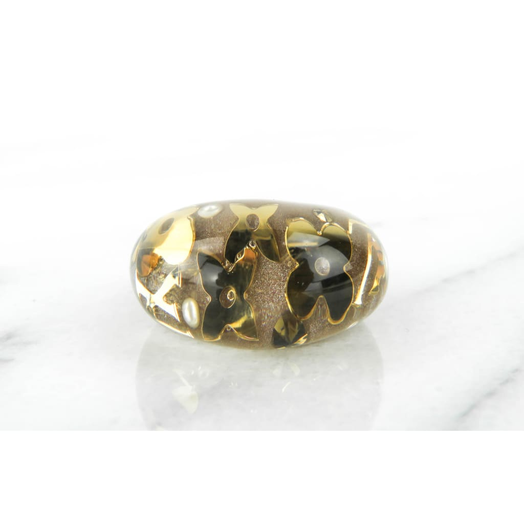 Louis Vuitton Taupe Resin Gold Monogram High Polish Inclusion Ring - Ring