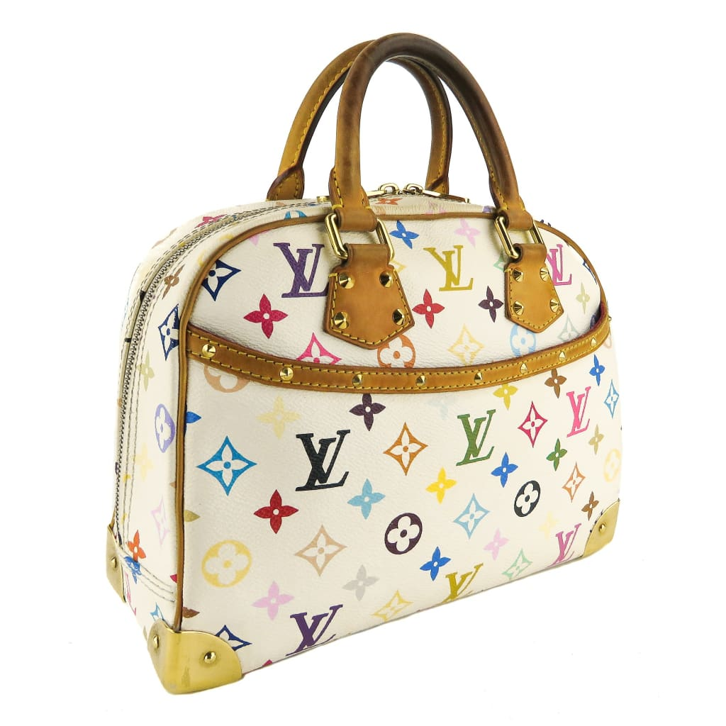 Louis Vuitton White Canvas Multicolore Takashi Murakami Trouville Satchel Bag - Satchels