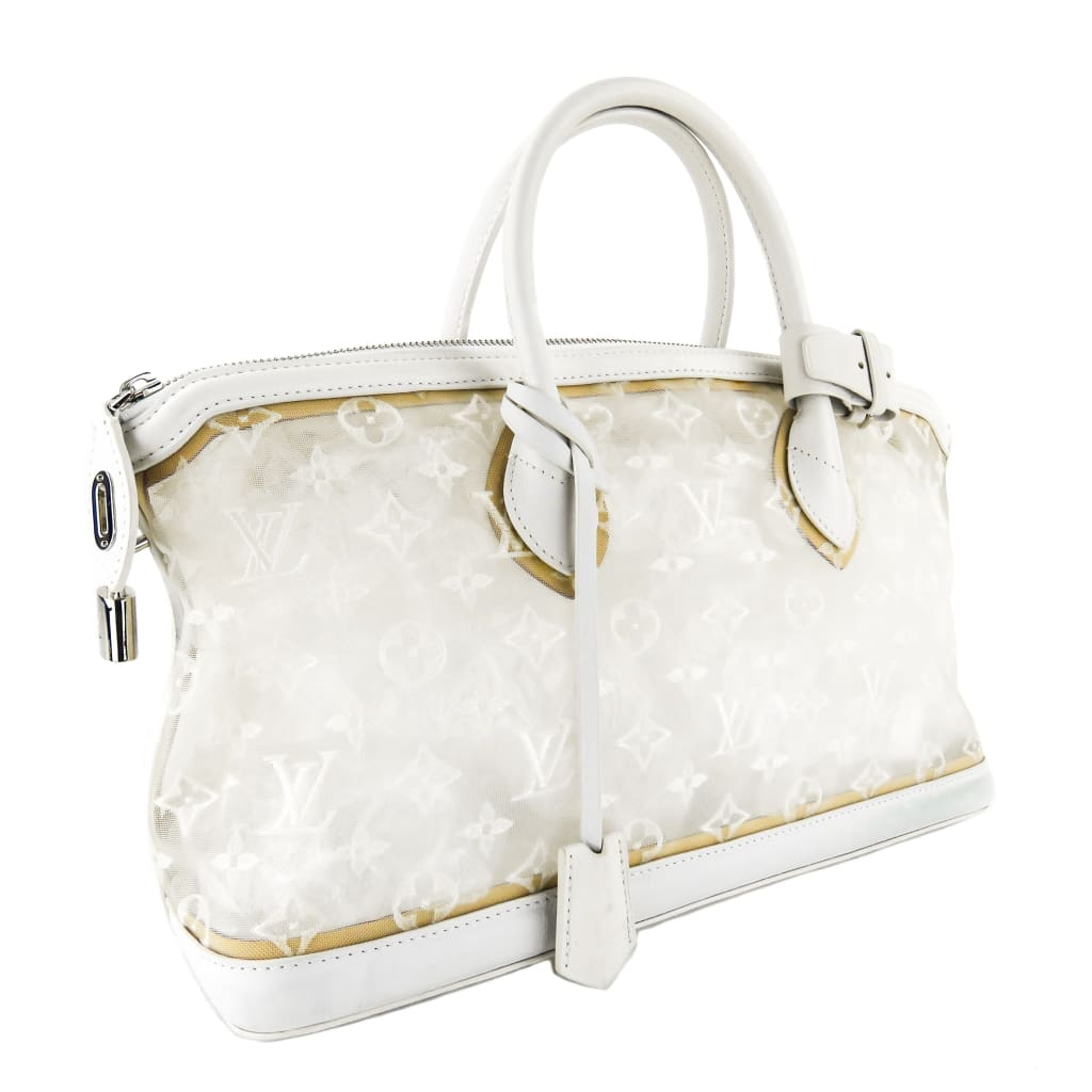 Louis Vuitton White Monogram Mesh Transparence Lockit East West Tote Bag - Satchels