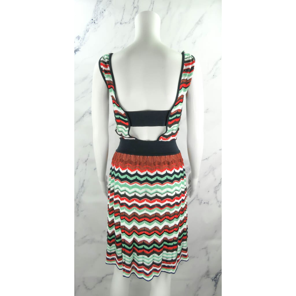 M Missoni Navy Multicolor Cotton Knit Size 2 Sleeveless Dress - Dresses