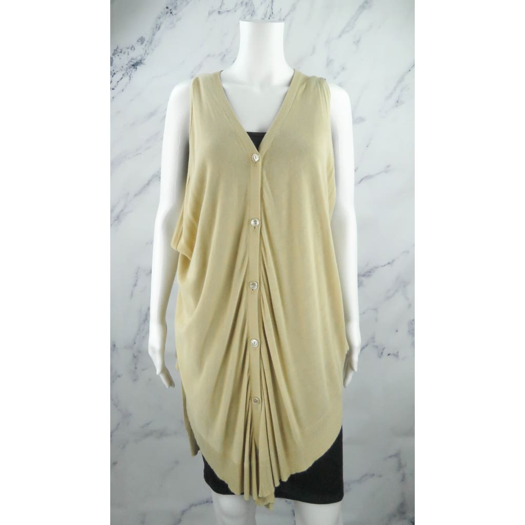 Maison Margiela Beige Rayon Size 1 Sleeveless Cardigan Sweater - Cardigan