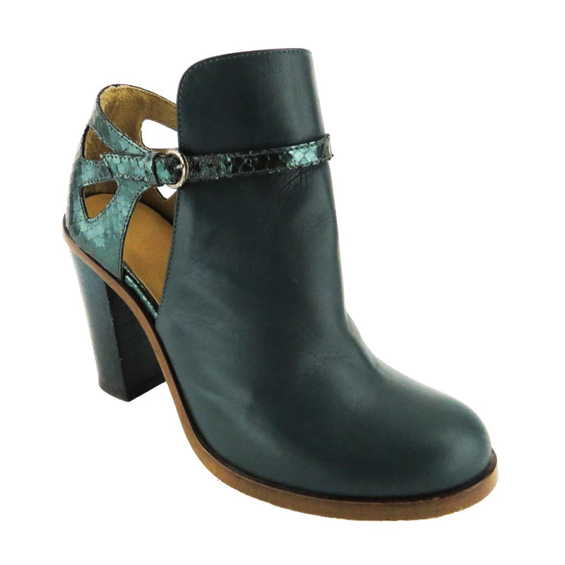 Maison Margiela Teal Leather Cut Out Ankle Booties - Bootie