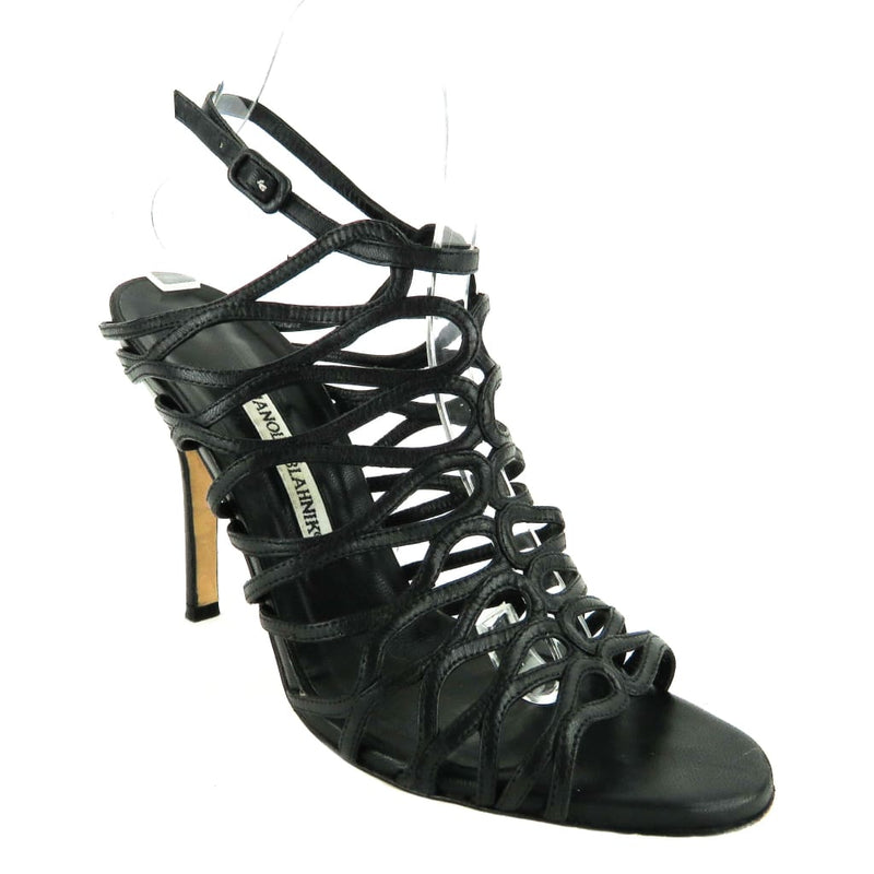 Manolo Blahnik Black Leather Caged Sandal Heels - Heels