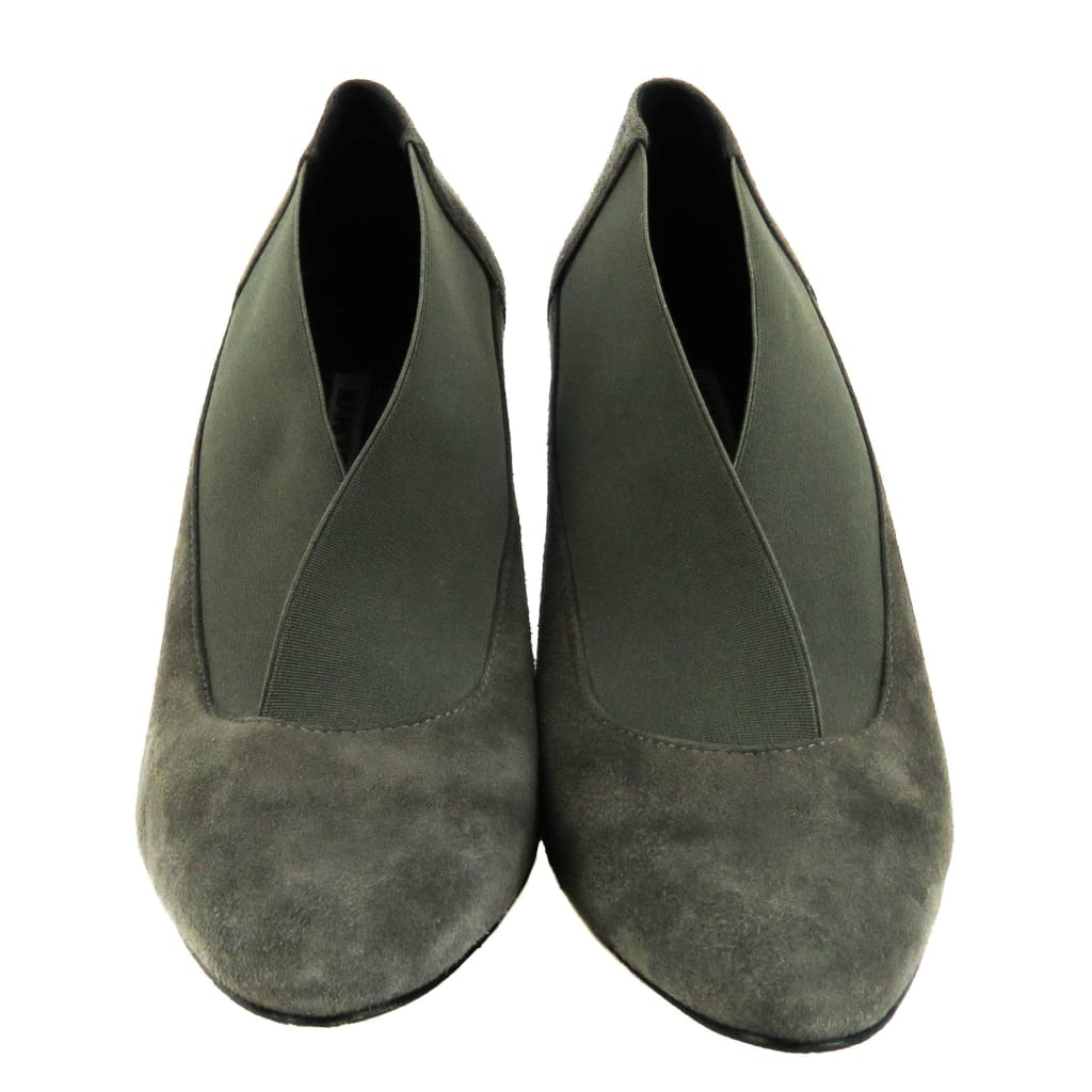 Manolo Blahnik Grey Suede Pointed Toe Booties - Bootie