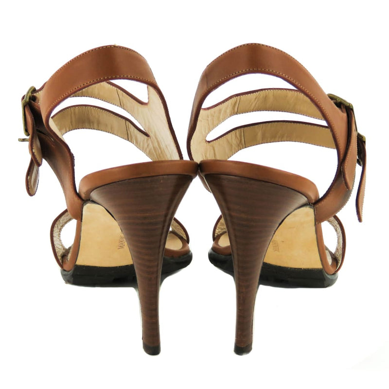 Manolo Blahnik Tan Leather Bakhita Sandal Heels - Heels