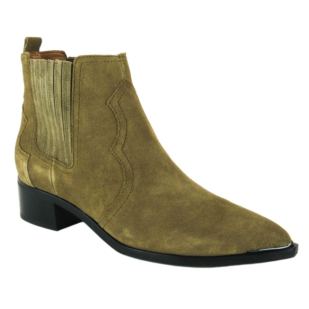 Marc Fisher Tan Suede Yohani Western Ankle Boots - Bootie