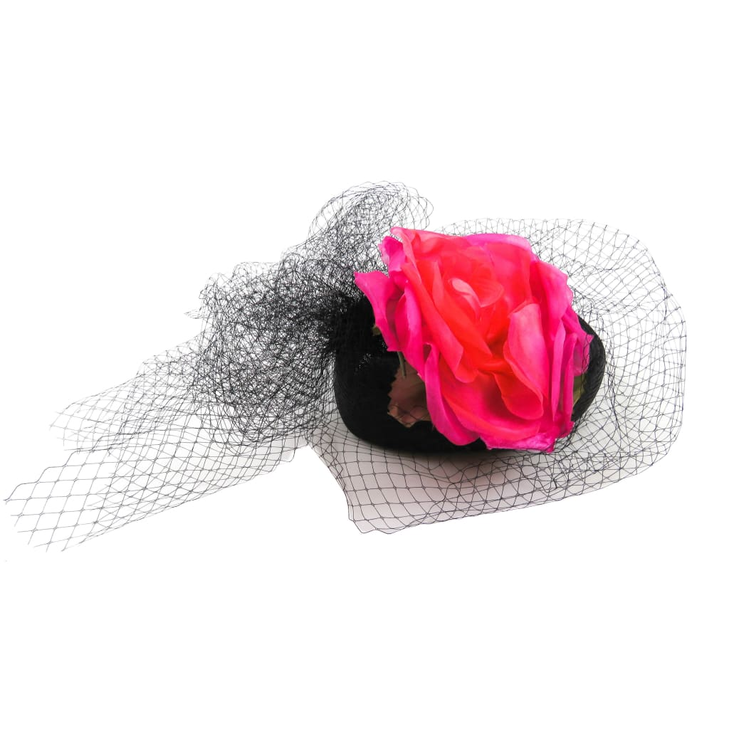 Marzi Black Straw Silk Flowers Veil Derby Hat - Hats