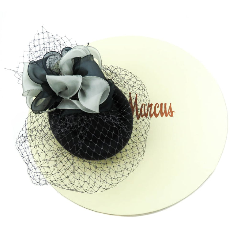 Marzi Grey Rayon Silk Bow Veil Derby Hat - Hats