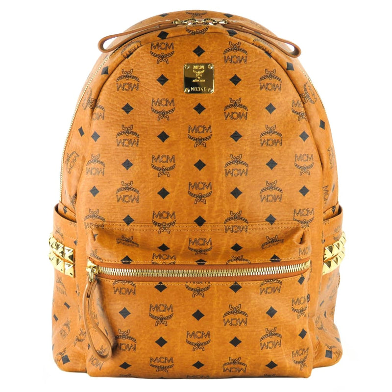 MCM Tan Monogram Coated Canvas Medium Visetos Studs Stark Backpack - Backpacks
