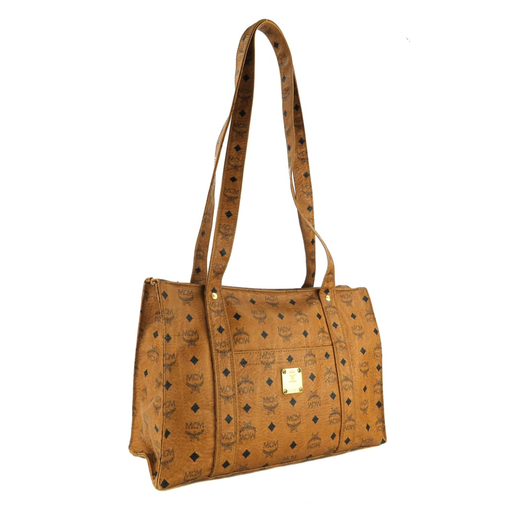 MCM Tan Monogram Coated Canvas Visetos Shopper Tote Bag - Totes