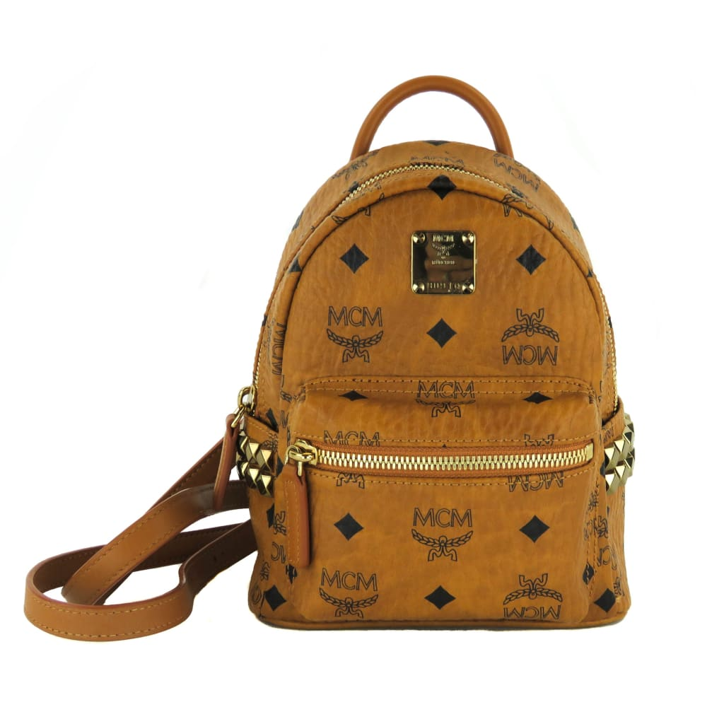MCM Tan Monogram Leather Cognac Stark Bebe Book Backpack - Backpacks