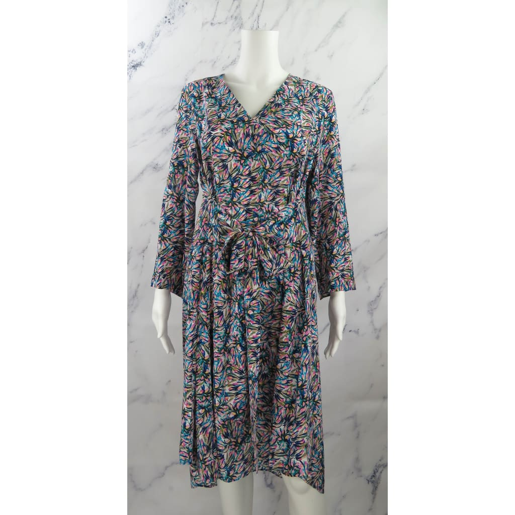 Megan Park Multicolor Silk Size 2 Ella Floral Print Wrap Dress - Dresses