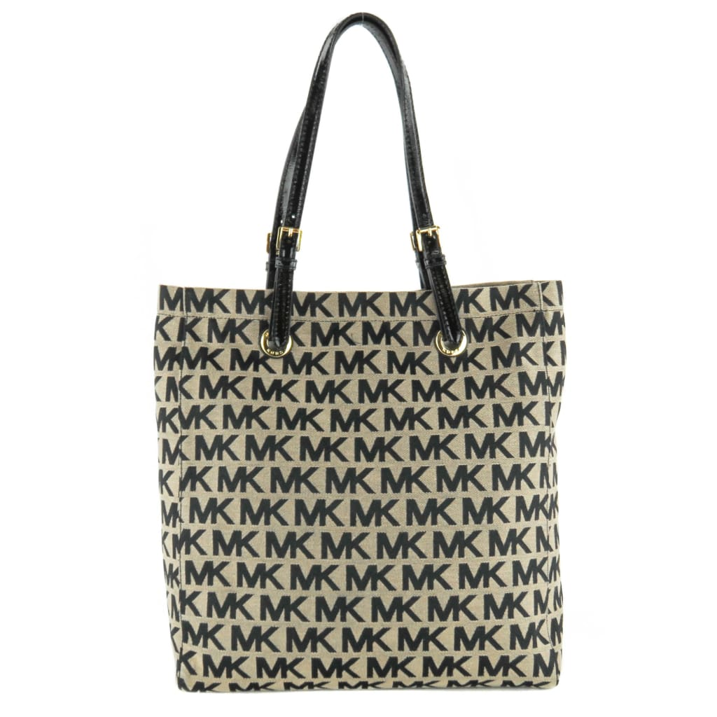 Michael Kors Beige and Black Canvas Signature MK Tall Tote Bag - Totes