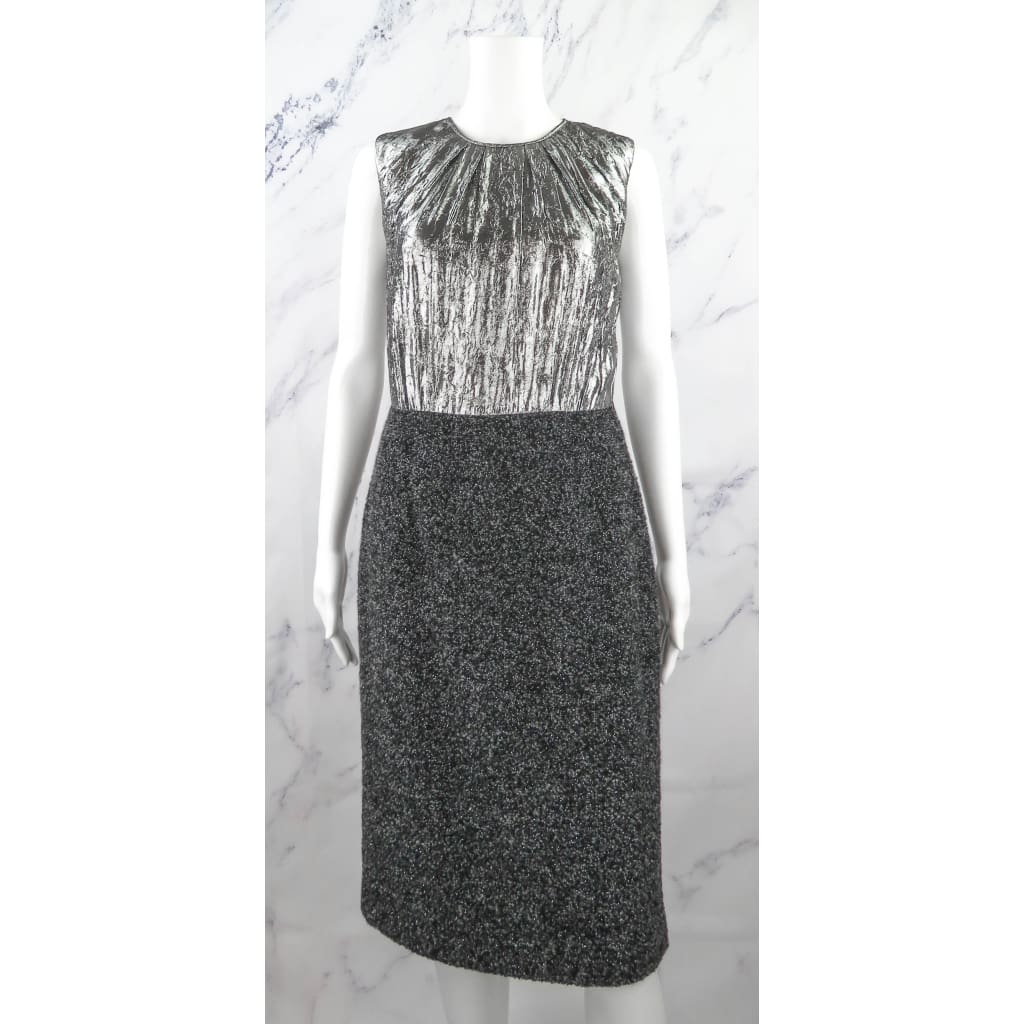 Michael Kors Black and Silver Tweed Size 6 Dress - Dress