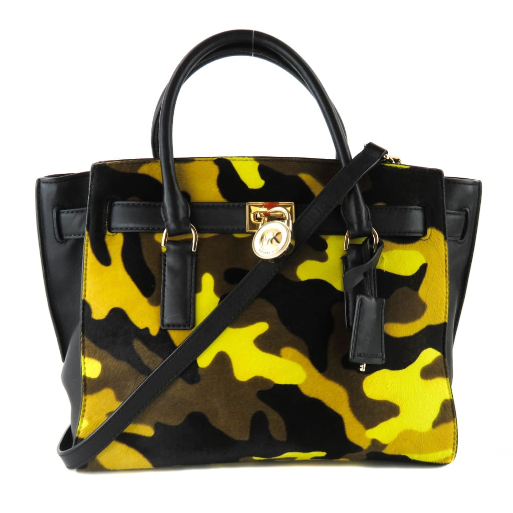 MICHAEL Michael Kors Black Leather Camo Hamilton Traveler Satchel Bag - Satchels
