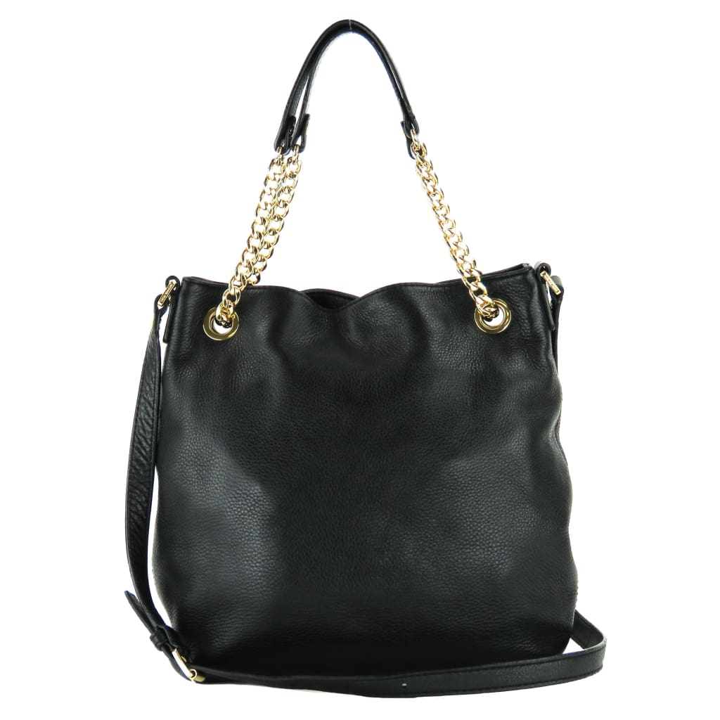 MICHAEL Michael Kors Black Leather Chain Jet Set Shoulder Tote Bag - Shoulder Bags