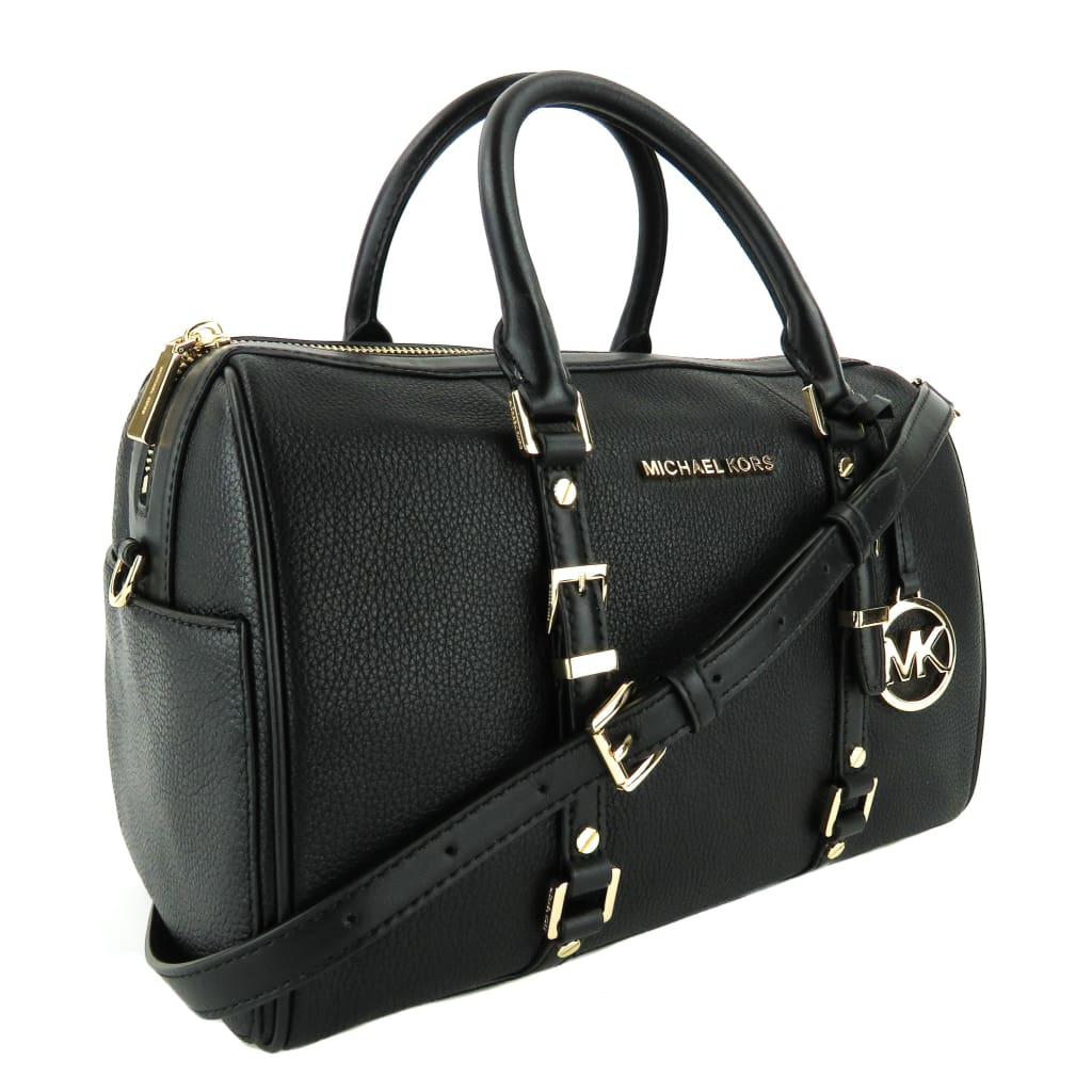MICHAEL Michael Kors Black Leather Medium Bedford Legacy Duffle Satchel Bag - Satchels