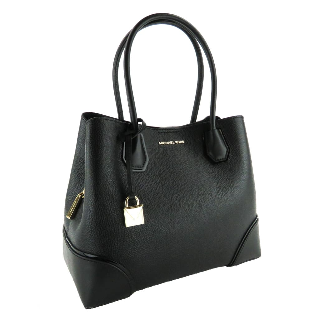 Michael Kors Black Leather Mercer Gallery Medium Satchel Bag - Totes