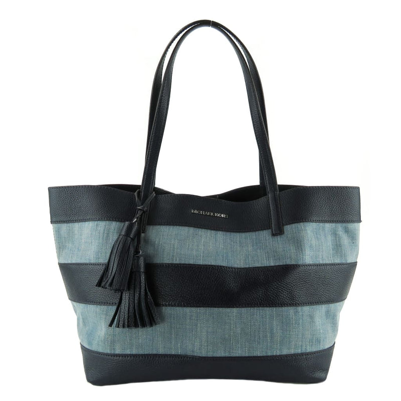 Michael Kors Blue Denim Canvas and Leather East West Striped Large Tote Bag - Totes