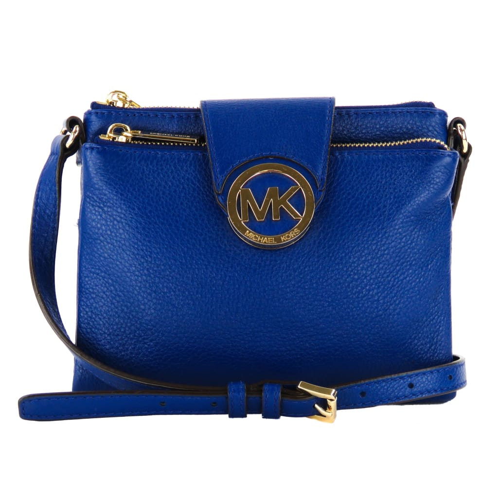 Michael Kors Blue Leather Fulton Function Crossbody Bag - Crossbodies