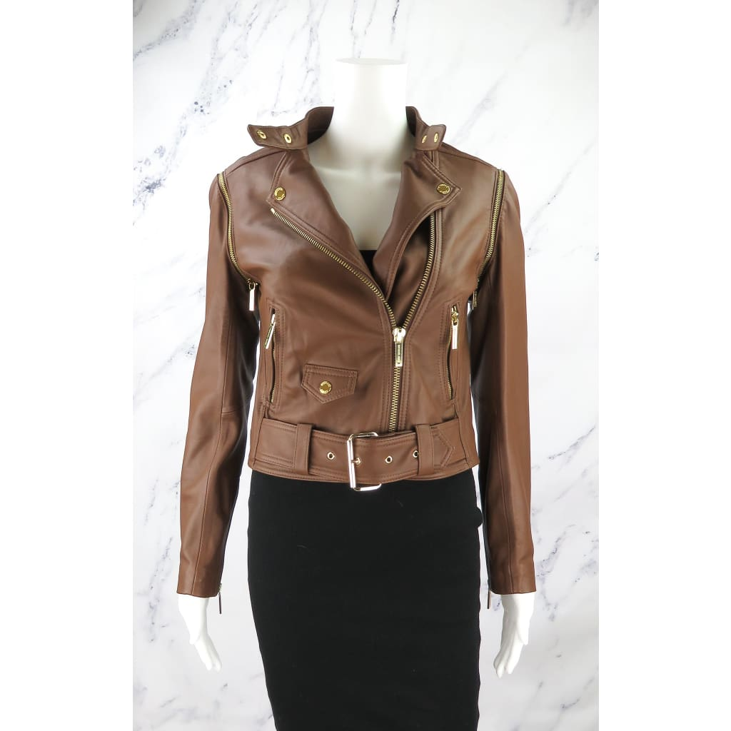 MICHAEL Michael Kors Brown Lamb Leather X-Small Two Way Jacket - Jacket