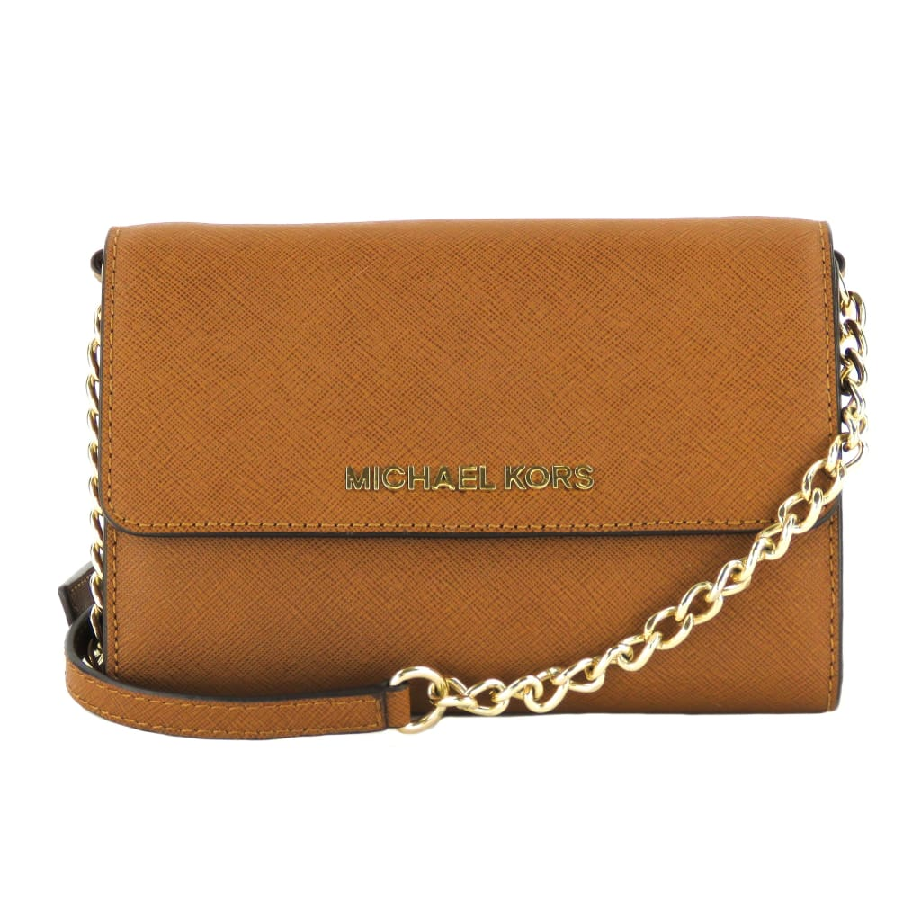 Michael Kors Brown Saffiano Leather Jet Set Phone Crossbody Bag - Crossbodies