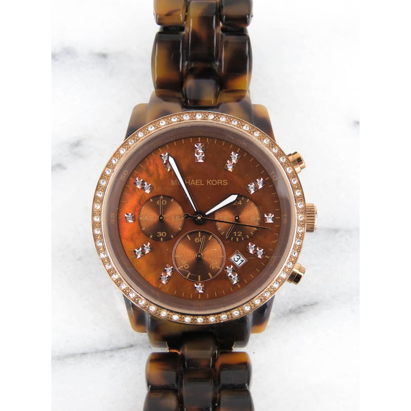 MICHAEL Michael Kors Brown Tortoise Rose Gold-tone Runaway Acrylic Twist Watch - Watches