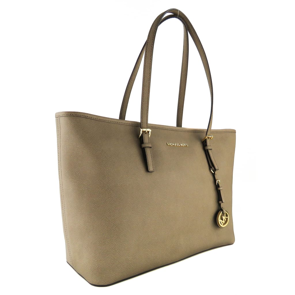 MICHAEL Michael Kors Dark Beige Saffiano Leather Jet Set Travel Tote Bag - handbags