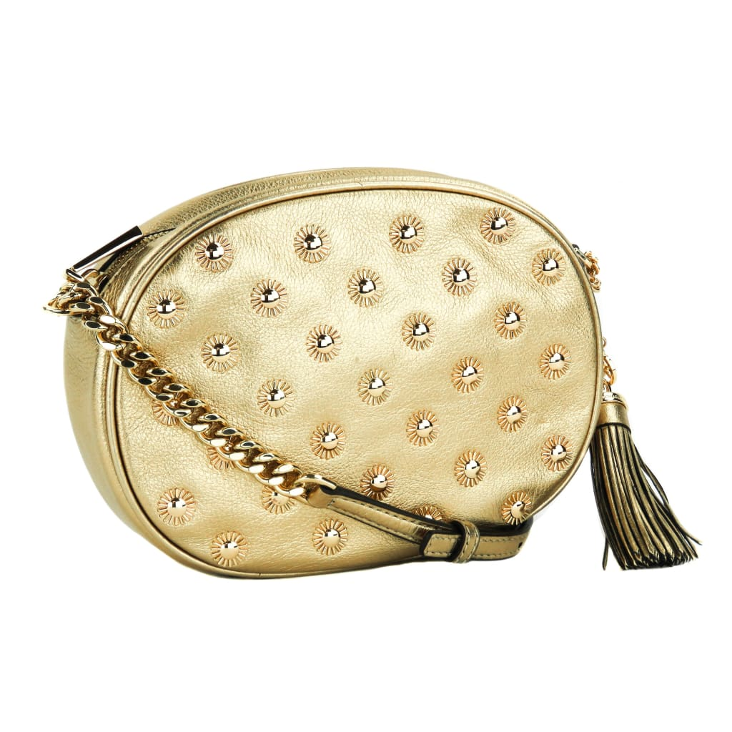 Michael Kors Gold Metallic Leather Ginny Studded Crossbody Bag - Crossbodies