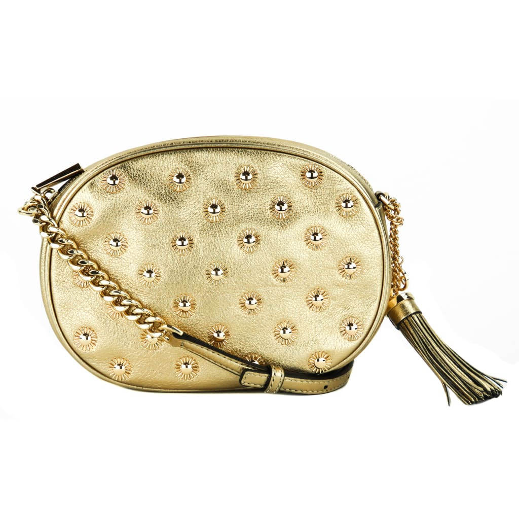 6da0068589d3 Michael Kors Gold Metallic Leather Ginny Studded Crossbody Bag - Crossbodies