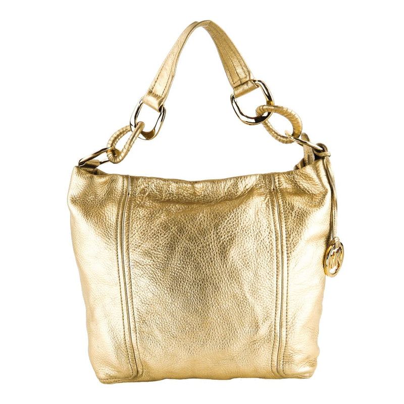 MICHAEL Michael Kors Gold Metallic Leather Hobo Shoulder Bag - Hobo Bags
