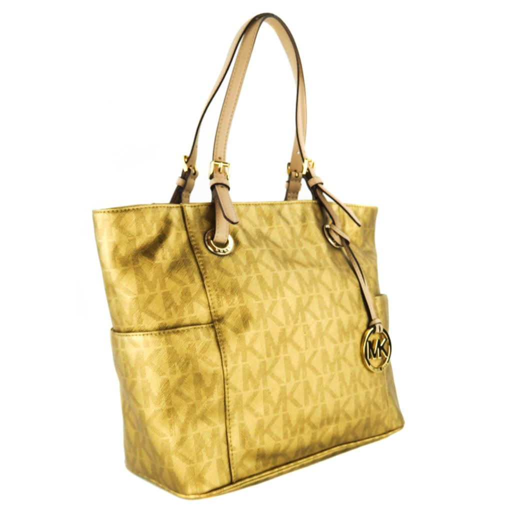 Michael Kors Gold Saffiano Leather East West Jet Set Signature Tote Bag - Totes