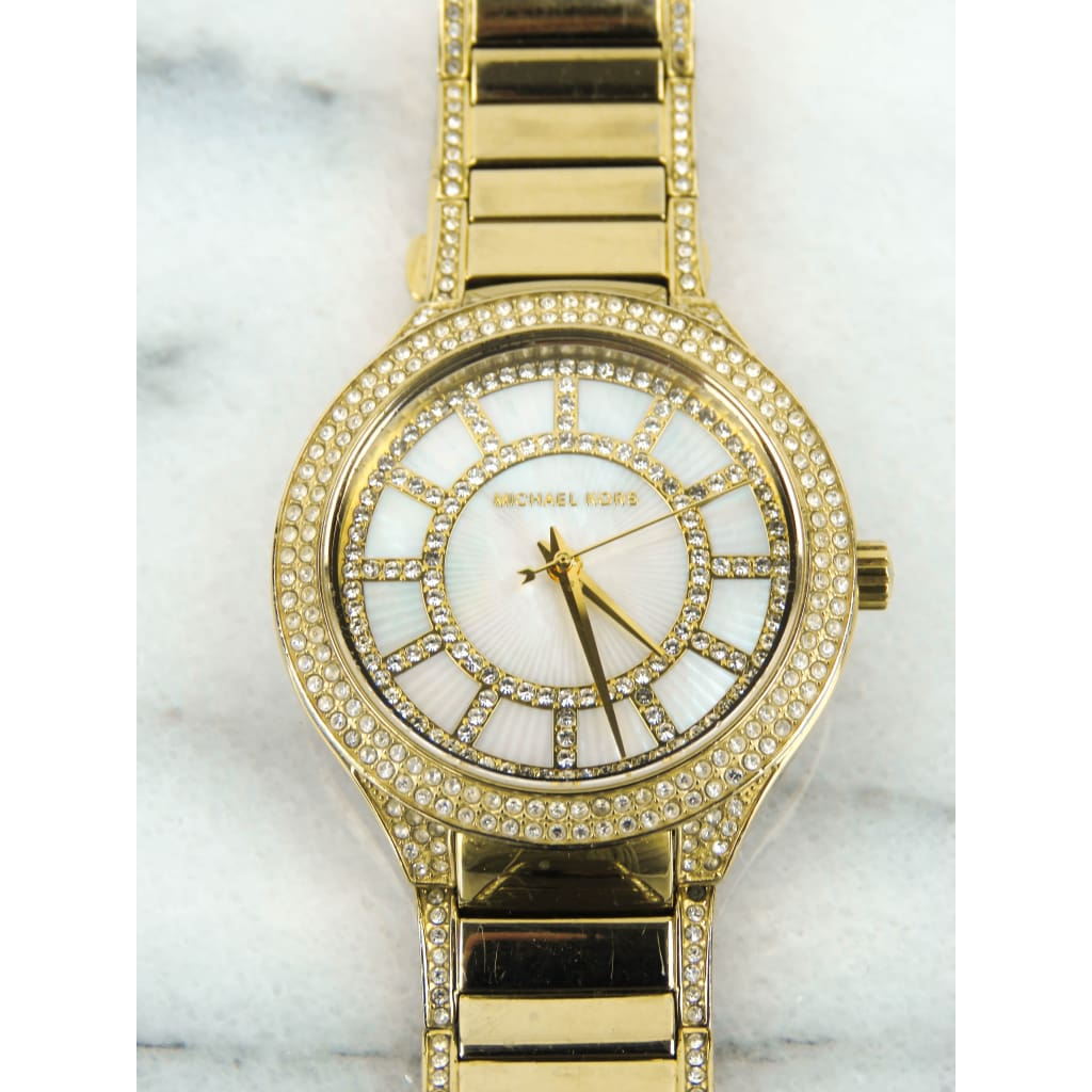 Michael Kors Gold-tone Stainless Steel Kerry Pave Crystal Mother of Pearl Watch - Watches