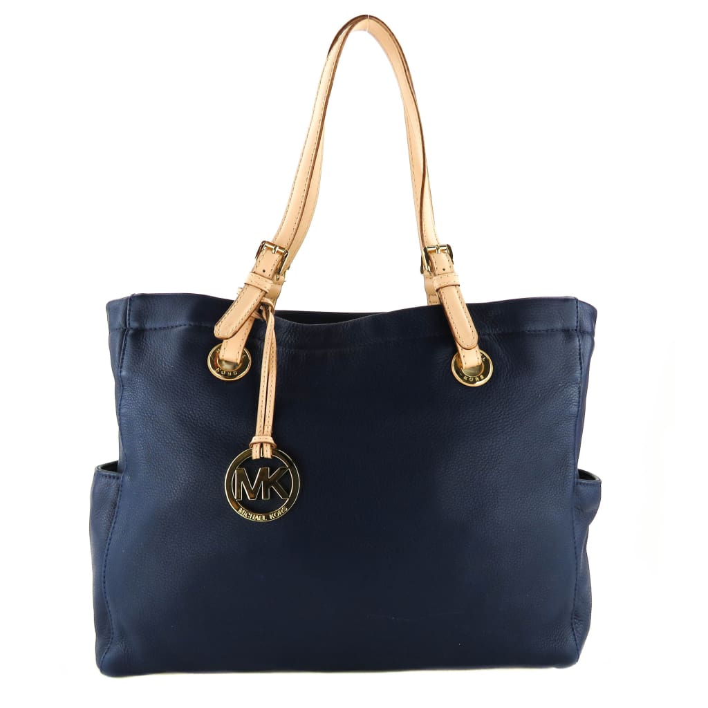 MICHAEL Michael Kors Navy Blue Leather Jet Set Tote Bag - handbags