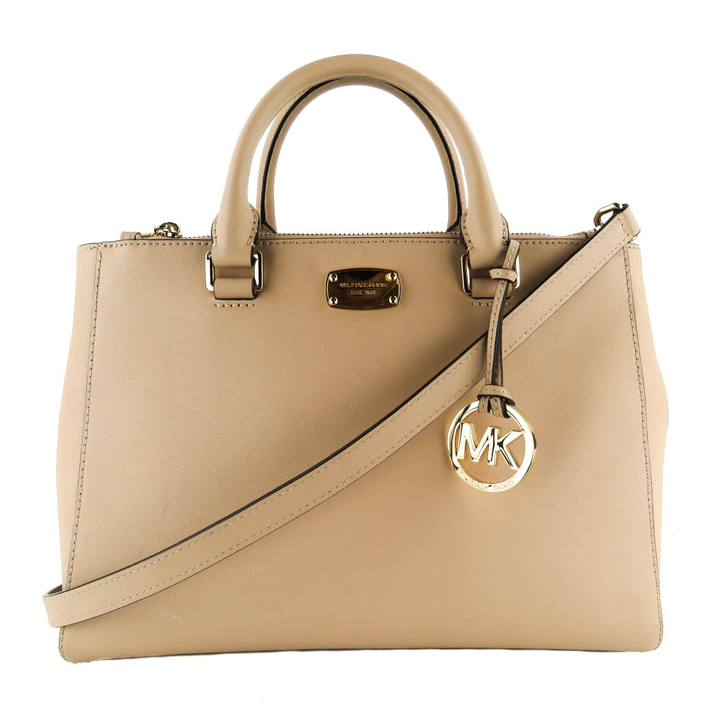Michael Kors Nude Saffiano Leather Kellen Satchel Bag - Totes