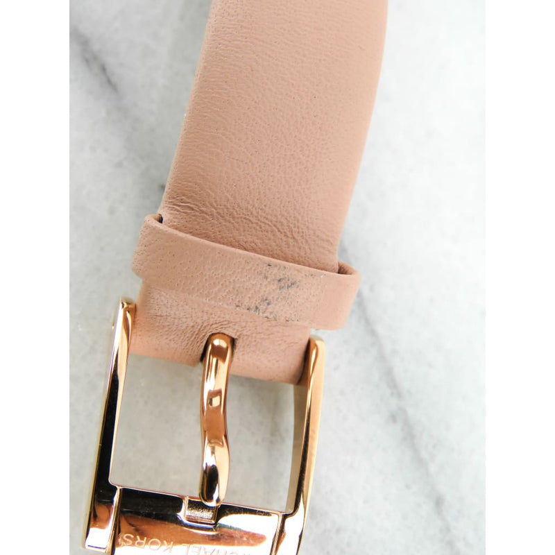 Michael Kors Pink Leather Rose Gold-tone Portia Bracelet Watch - Watches