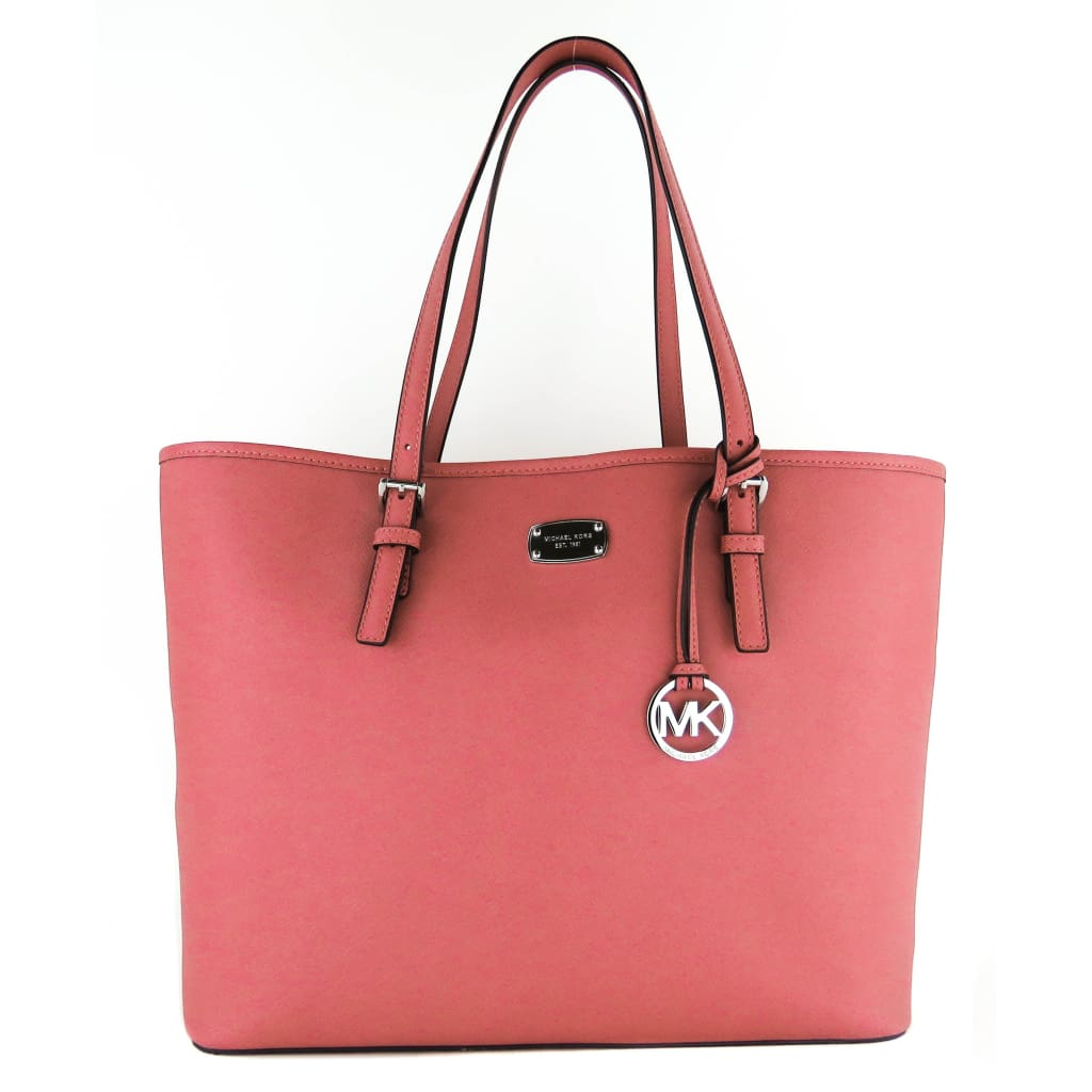 MICHAEL Michael Kors Pink Saffiano Leather Tulip Jet Set Travel Tote Bag - handbags