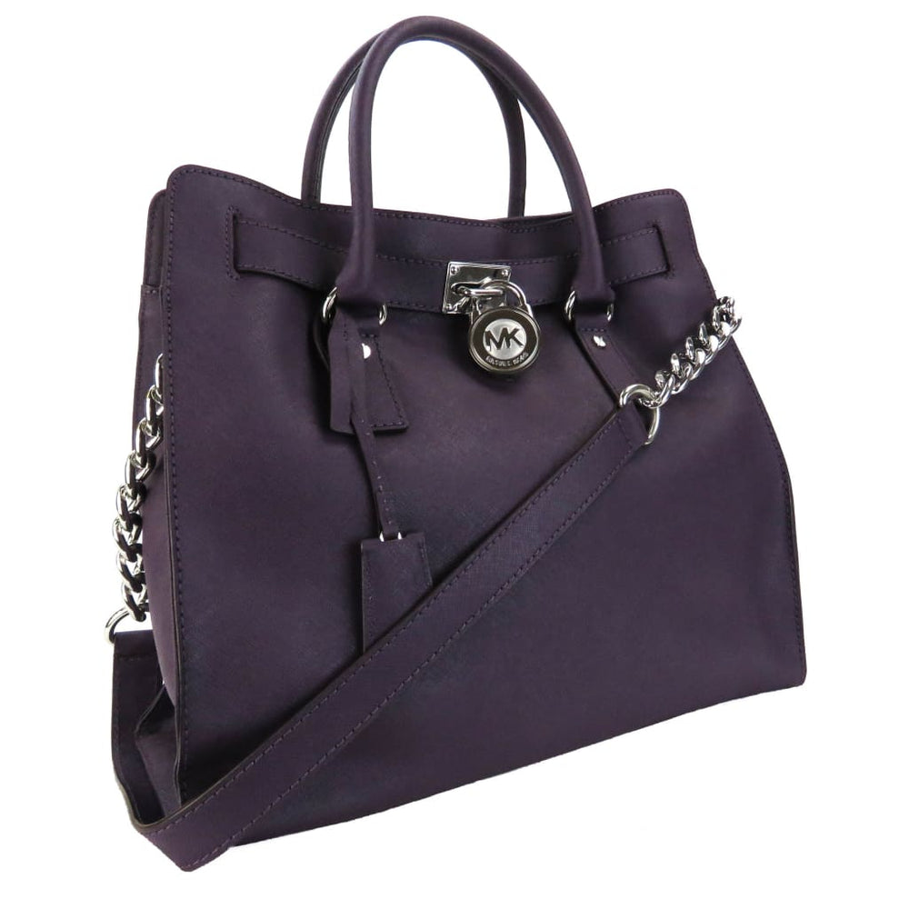 MICHAEL Michael Kors Purple Saffiano Leather Hamilton Shoulder Bag ... 6672d55783c7f