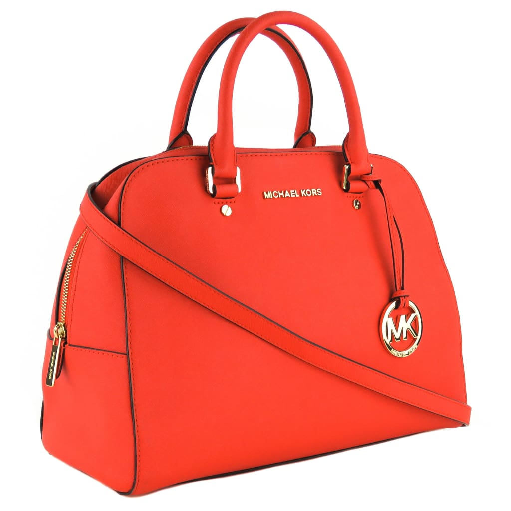 Michael Kors Red Leather Cindy Dome Satchel Bag - Satchels