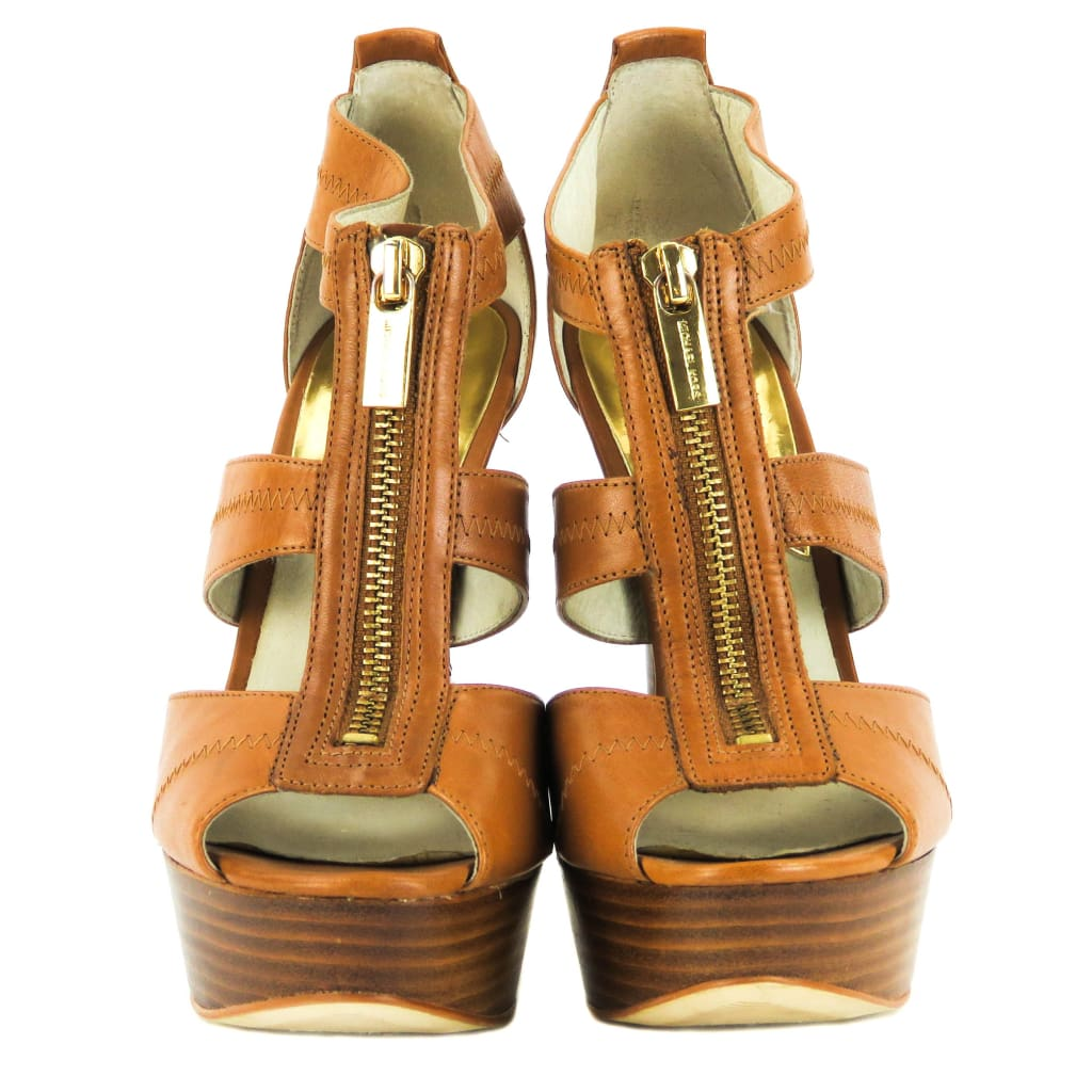 Michael Michael Kors Tan Leather Berkley T-Strap Platform Heels - Heels