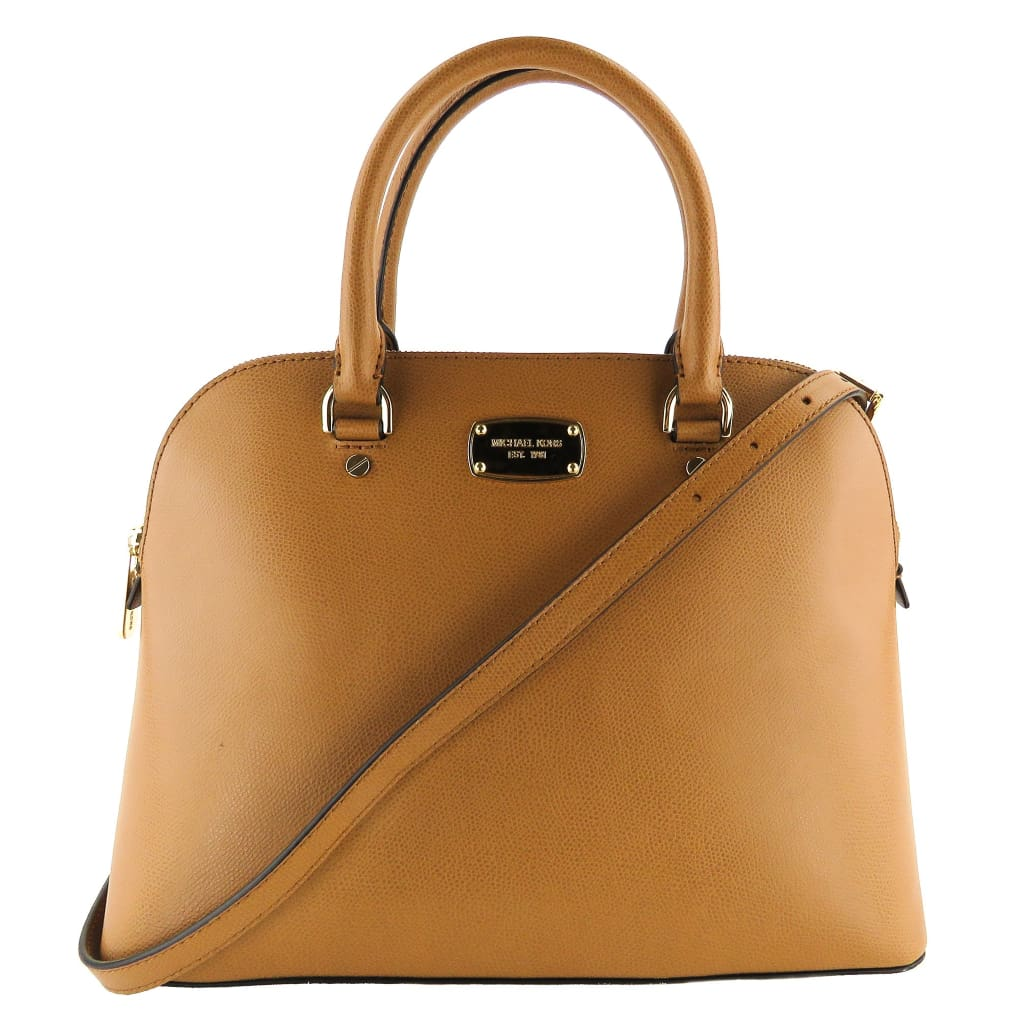 MICHAEL Michael Kors Tan Luggage Leather Cindy Dome Satchel Bag - Satchels