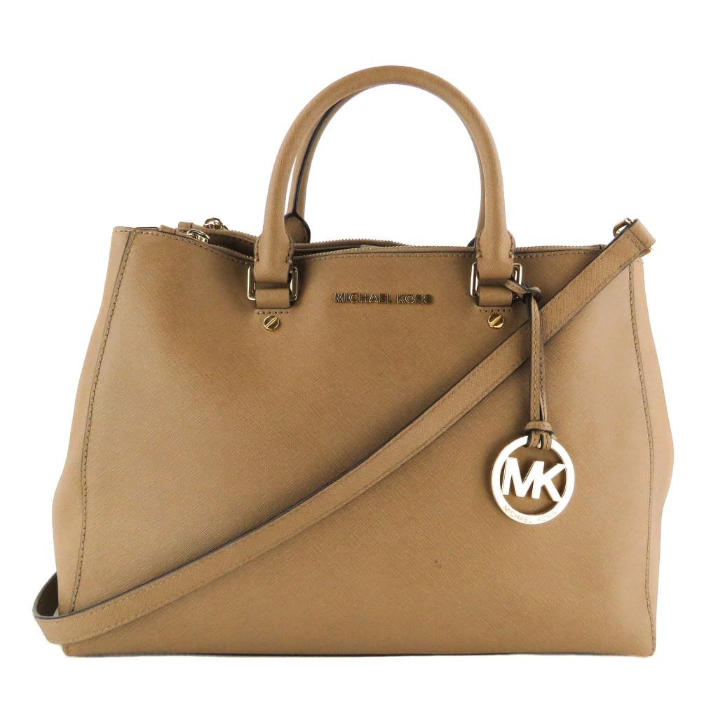 MICHAEL Michael Kors Tan Saffiano Leather Dark Dune Sutton Satchel Bag - Satchels