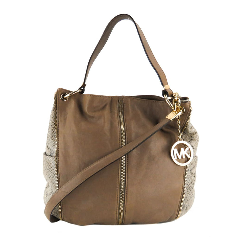 MICHAEL Michael Kors Taupe Leather Snake Embossed Newman Hobo Shoulder Bag - Shoulder Bags