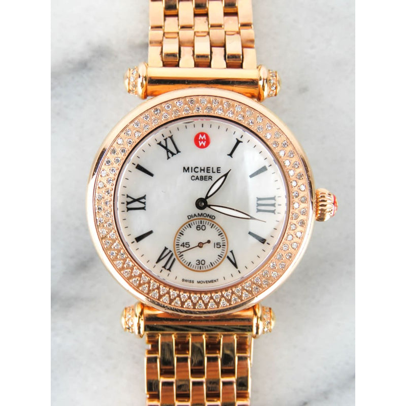 Michele Rose Gold-tone Stainless Steel Caber Diamond Bracelet Watch - Watches