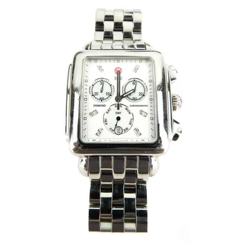 Michele Stainless Steel Signature Deco Diamond 20mm Chronograph Watch - Watches