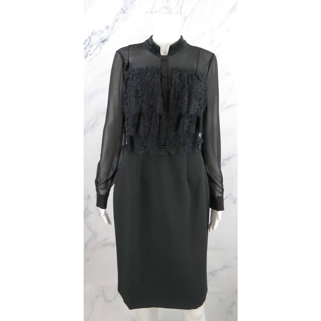 Mikael Aghal Black Lace Velvet Long Sleeve Size 6 Belted Dress - Dresses