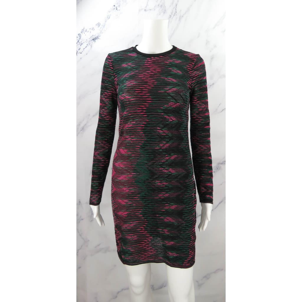 Missoni Black Multicolor Cotton X-Small Long Sleeve Dress - Dress