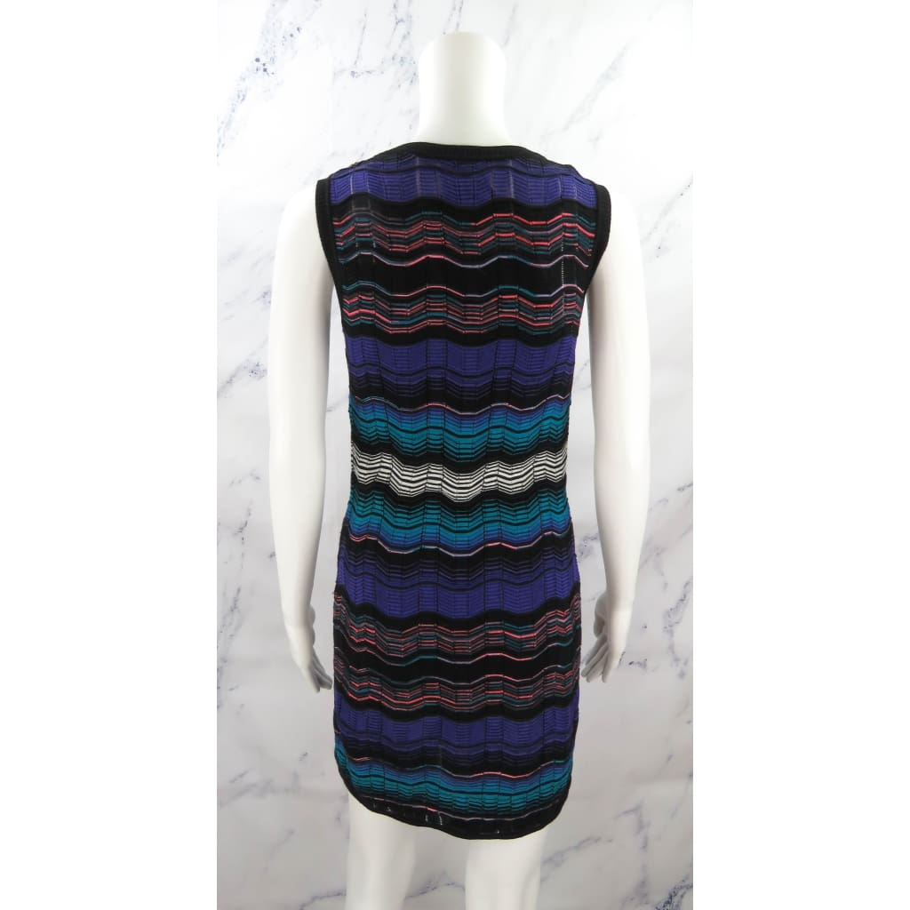 Missoni Purple Multicolor Cotton Knit Blend Size 38 Sleeveless Dress - Dress